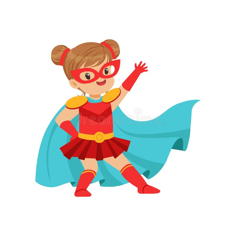 Comic brave kid in superhero red costume with mask on face and developing in the wind blue cloak, posing and waving her. Hand. Girl with extraordinary powers vector illustration