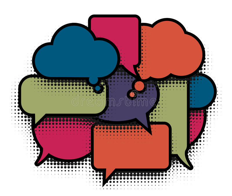 Comic bubble pop art colorful cloud. Comics speech balloons icons collection on white background, dialogue boxes signs stock illustration