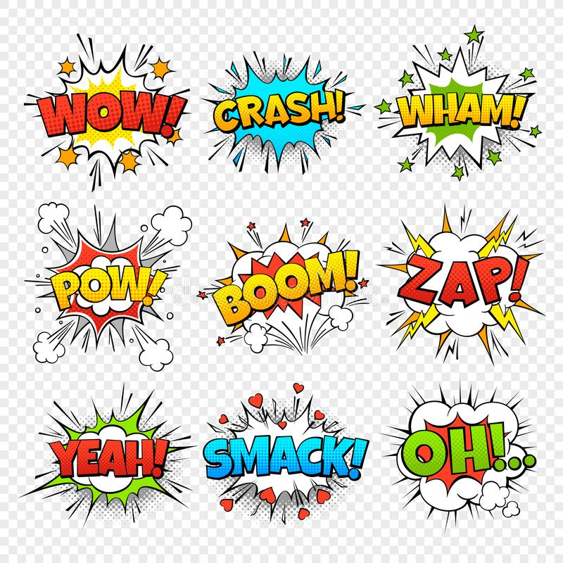 Comic bubbles. Funny comics words in speech bubble frames. Wow oops bang zap thinking clouds. Expression balloons set stock illustration