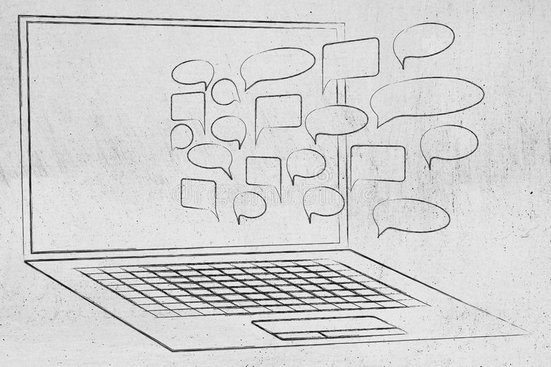Comic bubbles popping out of laptop screen from above. Concept of online communication and sharing ideas or opinion stock photo