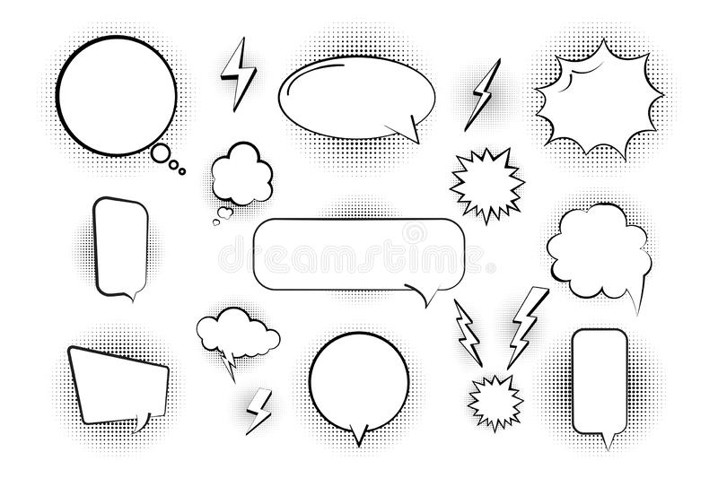 Comic bubbles in retro style, elements in halftone and shadow. Empty bubbles. Vector illustration royalty free illustration