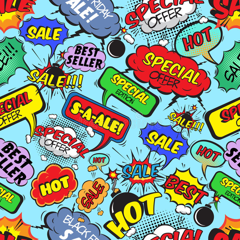 Free Comic Bubbles Seamless Sale Stock Photos - 39503033