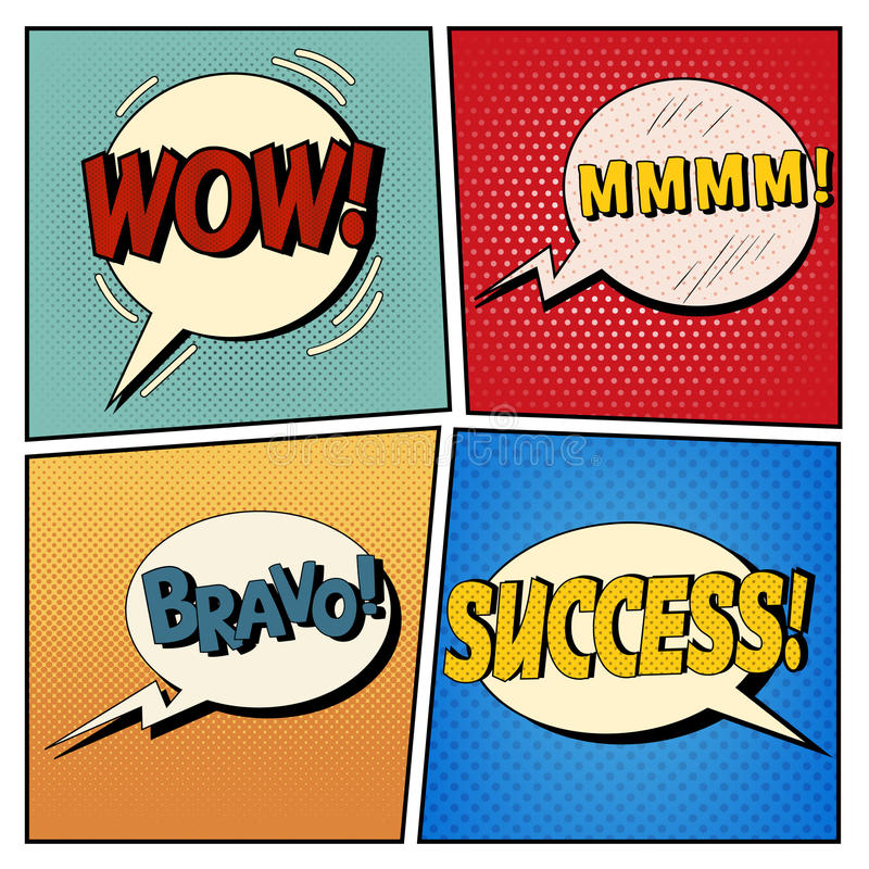 Free Comic Bubbles Set. Expressions Wow, Mmmm, Bravo, Success Stock Image - 68543411