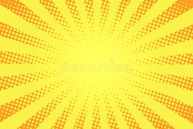 Comic-Buch-Arthintergrund Halbtonbeschaffenheit, Weinlese punktierte Hintergrund in der Pop-Arten-Art Retro- Sonnenstrahlen, Sonn vektor abbildung