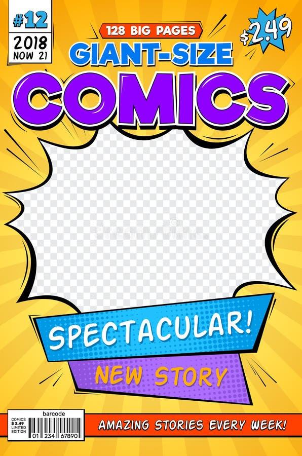 Comic-Buch-Bucheinband Weinlesecomics-Zeitschriftenplan KarikaturTitelblatt-Vektorschablone stock abbildung