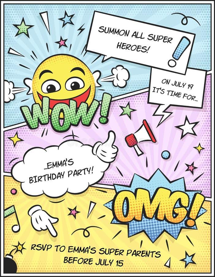 Comic-Buch-Einladungs-Schablone Stock Abbildung - Illustration von ...