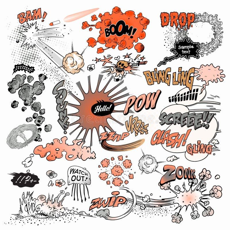 Comic-Buch-Elemente, Explosionen, Wörter lizenzfreie abbildung
