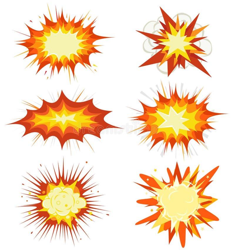 Comic-Buch-Explosion, Bomben und Explosions-Satz lizenzfreie abbildung
