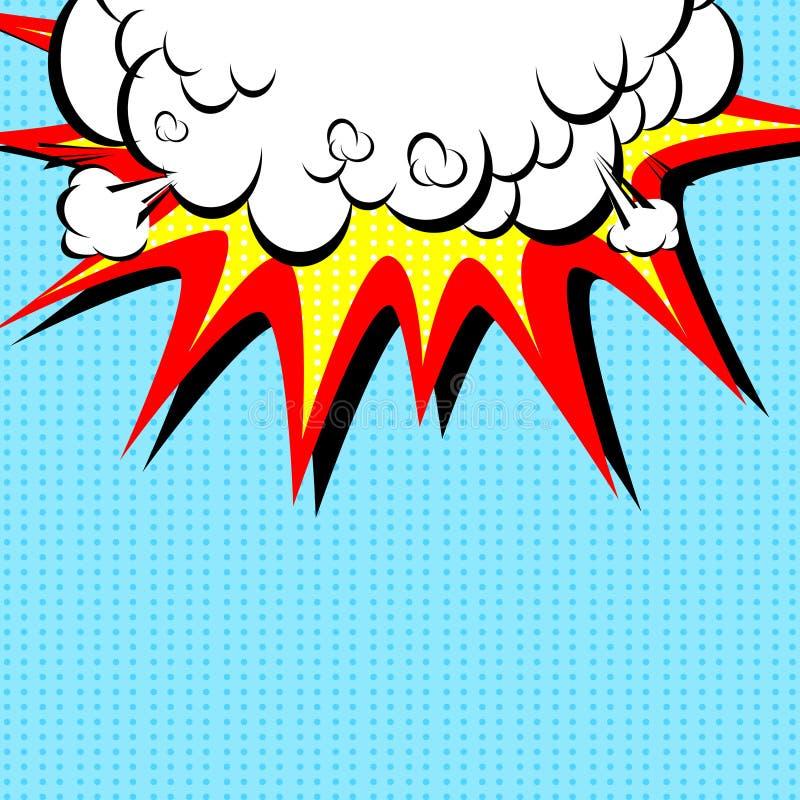 Comic-Buch-Illustration mit Explosion auf die Oberseite vektor abbildung