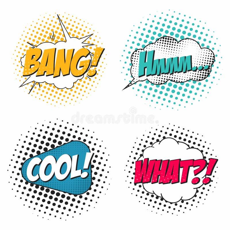 Comic-Buch-Klangeffektsatz, Rede sprudelt in der Pop-Arten-Art Was, Knall, hmm, kühl lizenzfreie abbildung