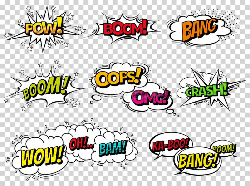 Comic-Buch-Klangeffektspracheblasen, Ausdrücke Sammlungsvektorblasenikonensprachephrase, Karikaturexklusivguß vektor abbildung