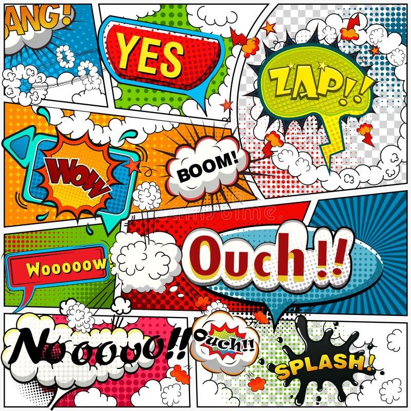 Comic-Buch-Seite teilte sich durch Linien mit Spracheblasen, Toneffekt Retro- Hintergrundmodell Comics-Schablone vektor abbildung