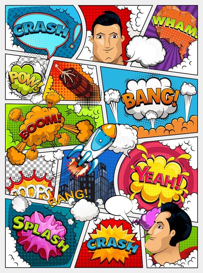 Comic-Buch-Seitenaufstellung Comics-Schablone Retro- Hintergrundmodell Geteilt durch Linien mit Rede, sprudelt Stadt, Rakete, Sup vektor abbildung