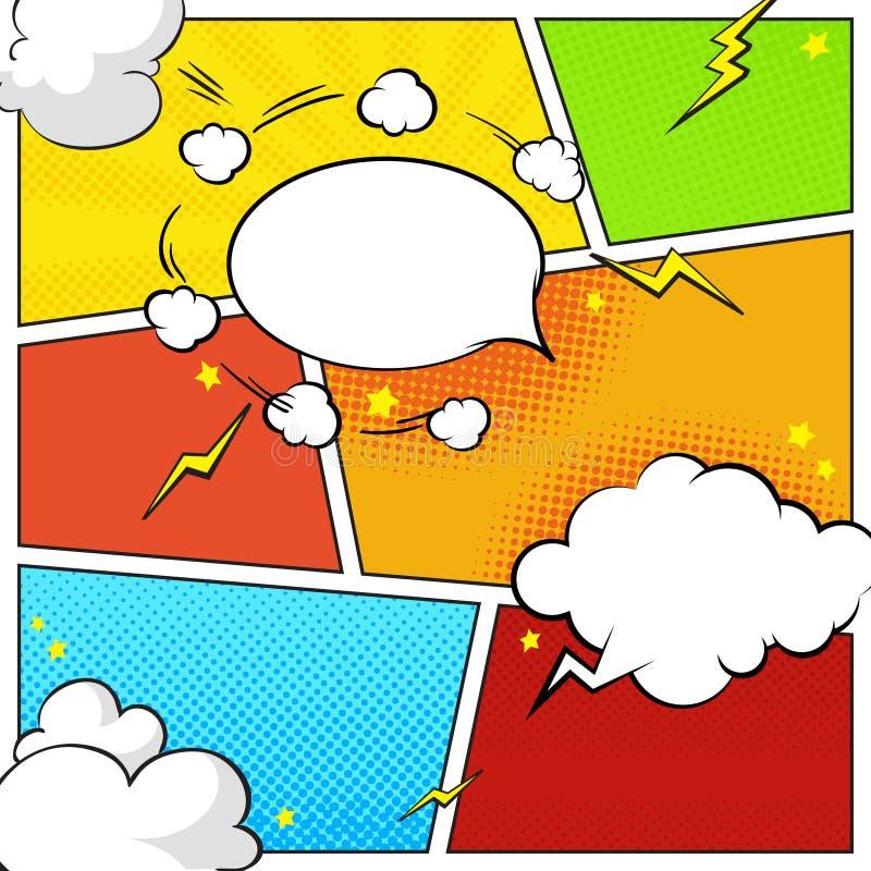 Comic-Buch-Seitenschablone mit Halbtoneffekten, Rede sprudelt lizenzfreie abbildung