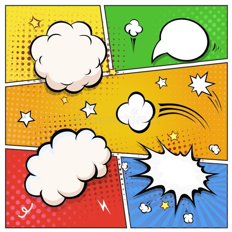 Comic-Buch-Spracheblasen Retro- Auslegungelementvektor stock abbildung
