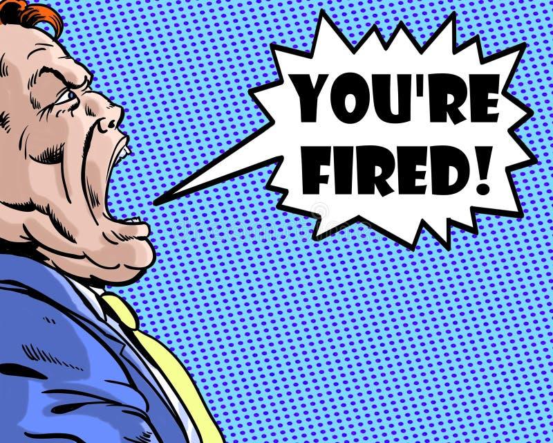 Comic-Buch veranschaulichte den verärgerten Chef, der Sie schreit, werden abgefeuert mit blauem Hintergrund lizenzfreie abbildung
