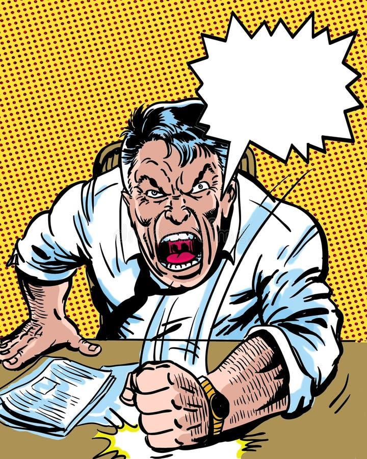 Comic-Buch veranschaulichte verärgerten Managercharakter mit Dialogballon vektor abbildung