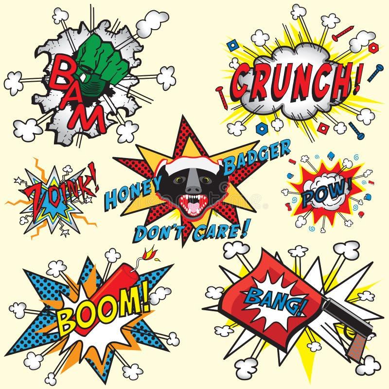 Comic-Buchexplosionen und -ikonen lizenzfreie abbildung