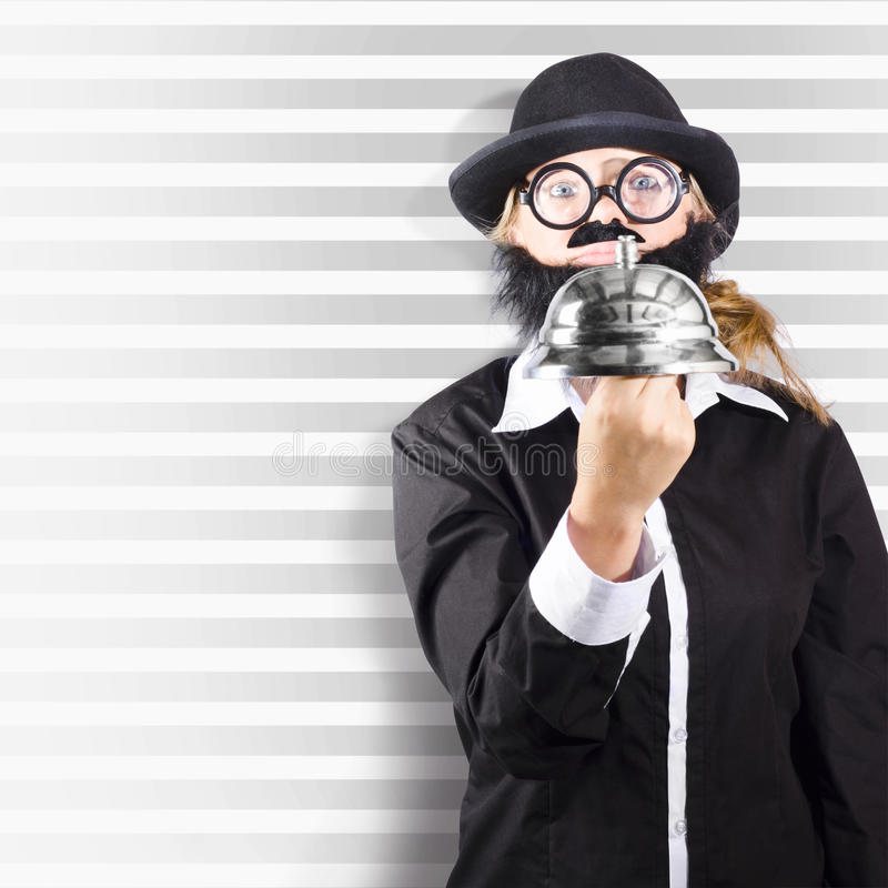 Comic Business Man Holding Big Service Bell Royalty Free Stock Image