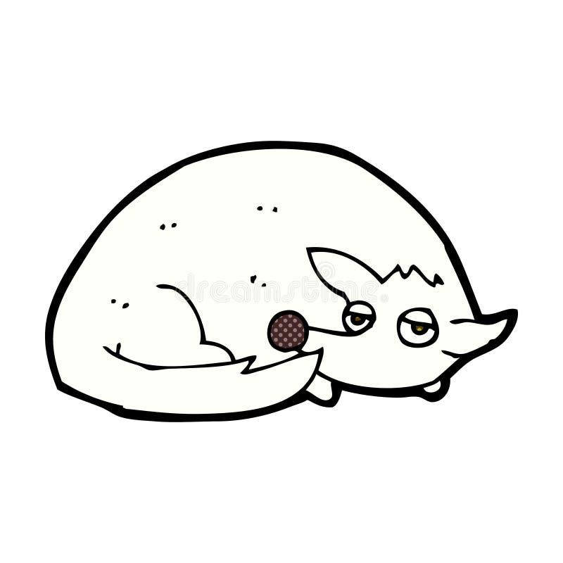 comic cartoon curled up dog vector illustration