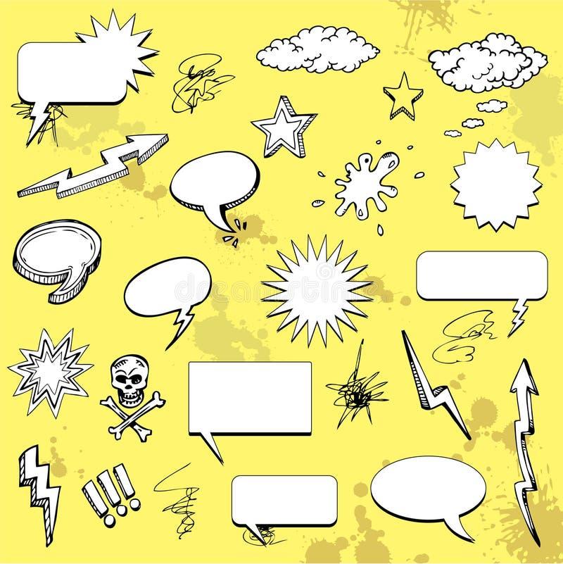 Comic cartoon elements. Comic cartoon graffiti elements, vector illustration royalty free illustration