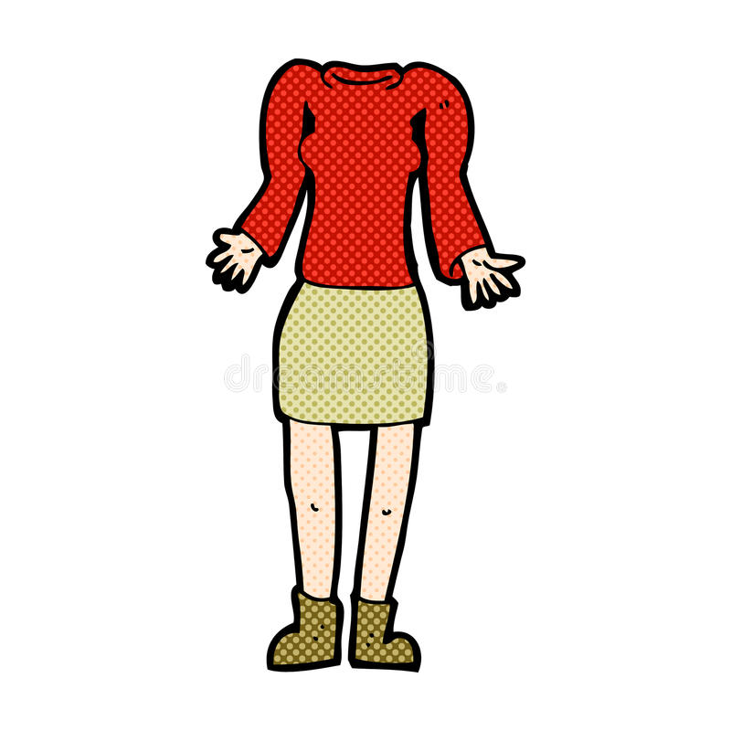 Comic cartoon female body with shrugging shoulders (mix and matc. Retro comic book style cartoon female body shrugging shoulders (mix and match retro comic book vector illustration