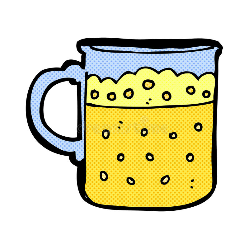 Comic cartoon mug of beer. Retro comic book style cartoon mug of beer vector illustration