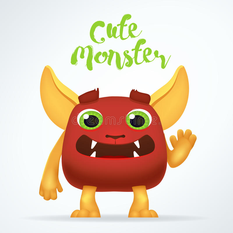 Comic Cartoon red creature character with cute monster lettering. Fun mutant isolated on light background. Comic Cartoon red creature character with cute vector illustration
