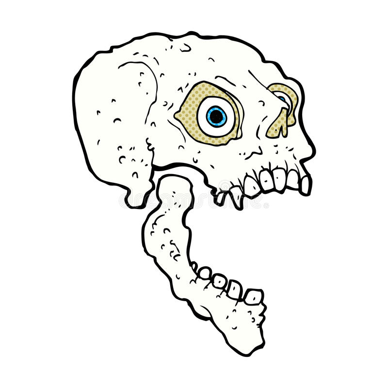 Comic cartoon scary skull. Retro comic book style cartoon scary skull royalty free illustration