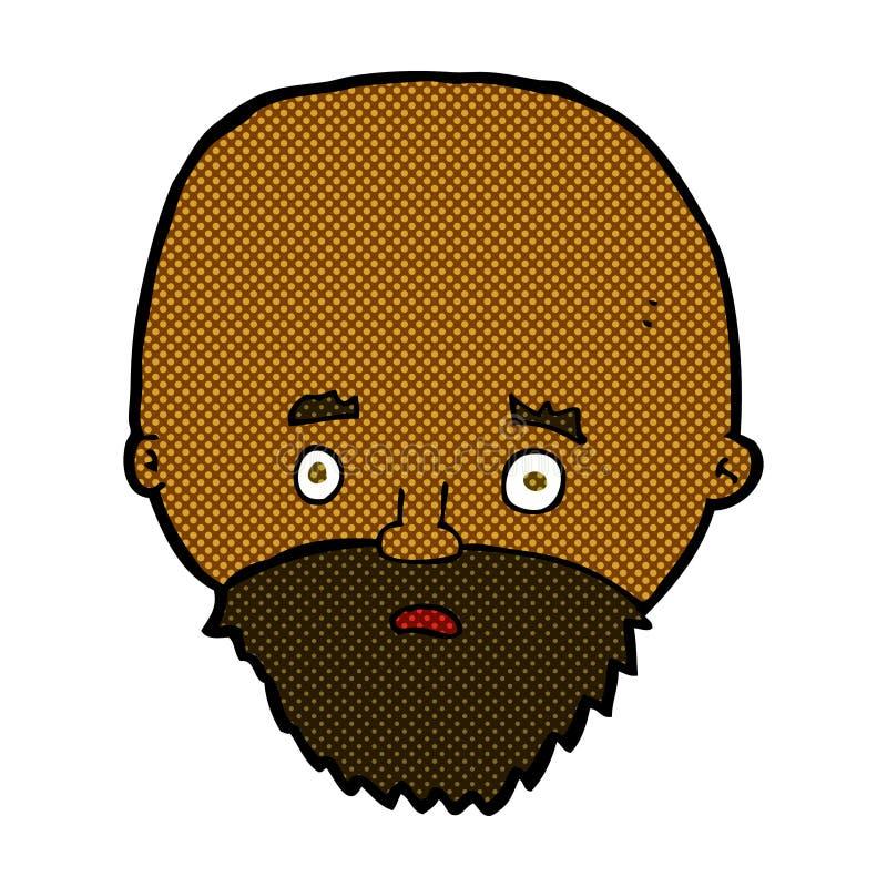 comic cartoon shocked man with beard royalty free illustration