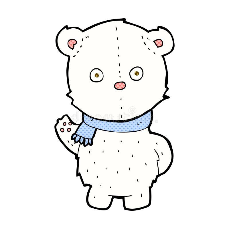 Comic cartoon waving polar bear cub. Retro comic book style cartoon waving polar bear cub stock illustration
