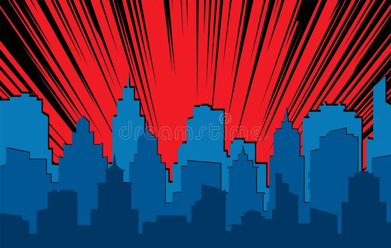 Comic cityscape. Retro urban silhouette of city buildings for art book comics with light effects vector scene background vector illustration