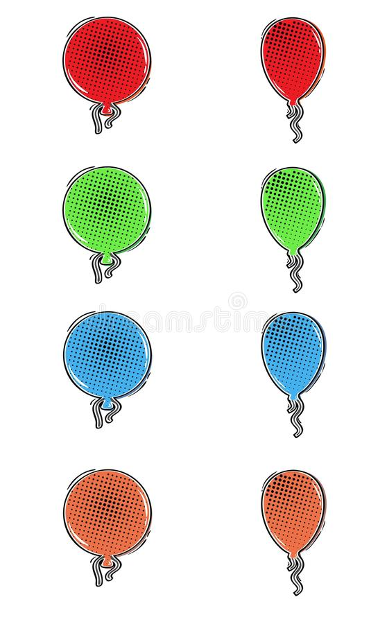 Comic color balloons. Collection of color balloons in comic retro style vector illustration