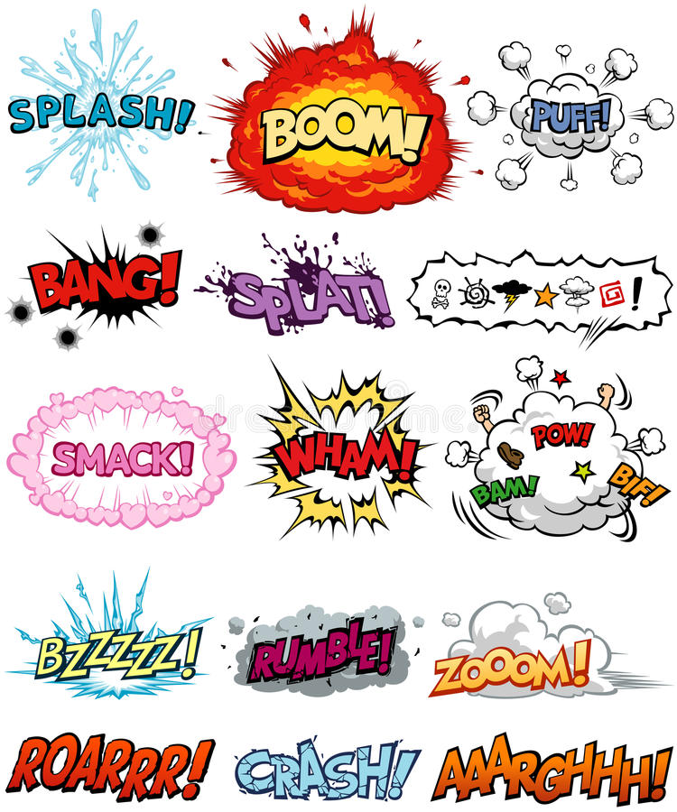 Comic Elements. A collection of Comic Elements, including onomatopoeia and sound effects. All text are originally created, all of them are not copyrighted fonts