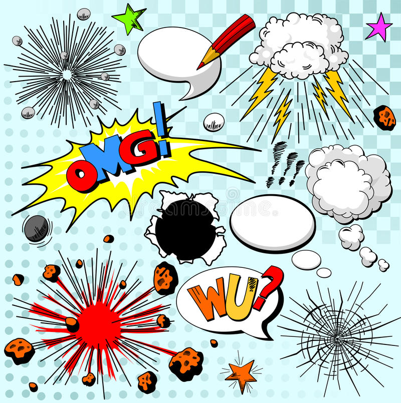 Download Comic elements stock vector. Illustration of bubble, book - 30971245