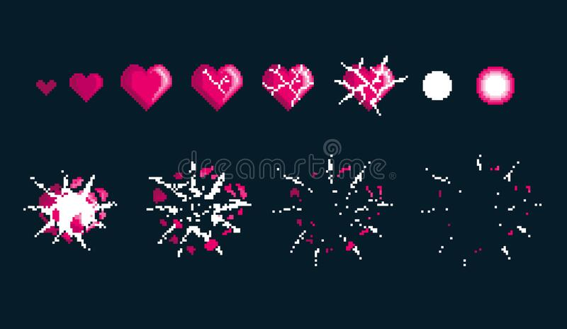 Comic explosion effects for emotion. Process steps for animation explosion of pink heart. stock images