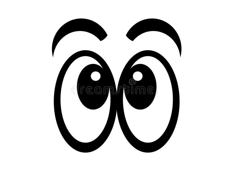 Comic eyes bw. Black comic eyes looking forward on white background