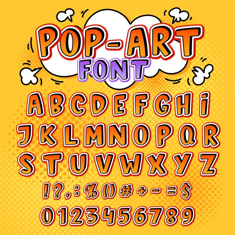 Comic font vector cartoon alphabet letters in pop art style and alphabetic text icons for typography illustration. Alphabetically popart typeset of abc and royalty free illustration