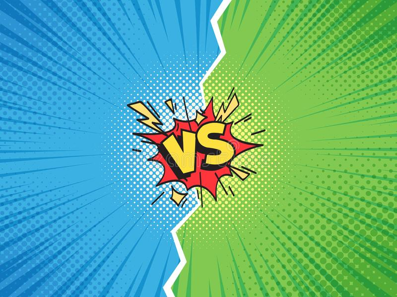 Comic frame VS. Versus duel battle or team challenge confrontation cartoon comics halftone background illustration stock illustration
