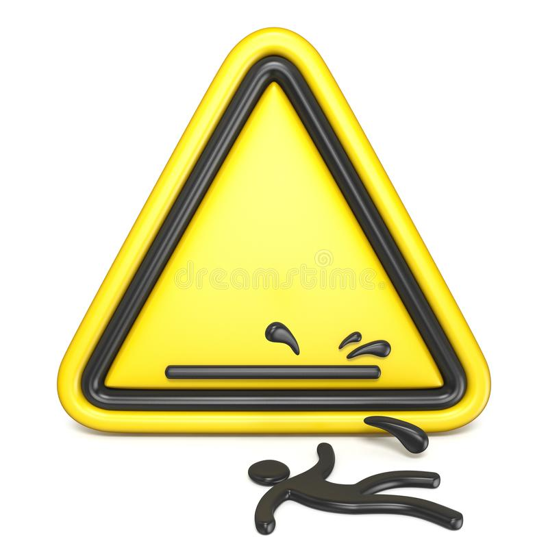 Comic funny wet floor sign with falling man 3D. Rendering illustration isolated on white background stock illustration