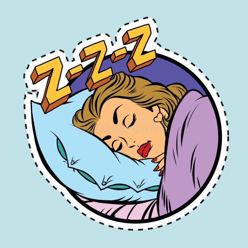 Comic girl sleeping in bed stock illustration