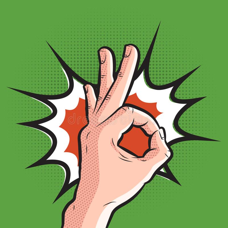 Comic hand showing ok gesture. pop art all is well sign on halftone background royalty free illustration