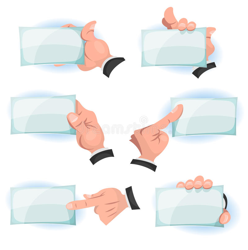 Comic Hands Holding ID Cards Signs. Illustration of a set of funny cartoon hands and fingers holding and showing business and company id cards and blank signs stock illustration