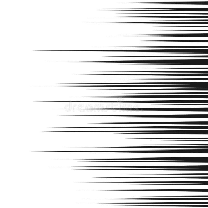 Comic horizontal speed lines background. Manga speed frame. Cartoon motion background. Superhero action. Vector illustration. Isolated on white background royalty free illustration