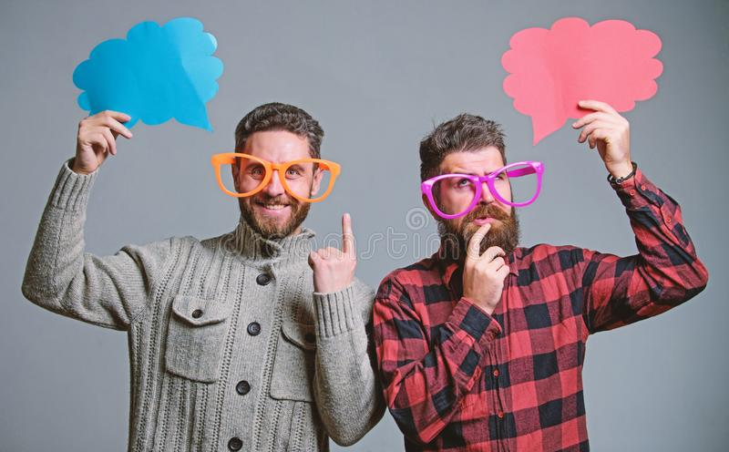Comic and humor sense. Men with beard and mustache mature hipster wear funny eyeglasses. Explain humor concept. Funny. Story and humor. Comic idea. Men joking royalty free stock photo