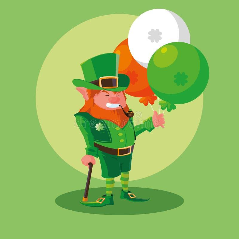 Comic leprechaun with balloons helium. Vector illustration design stock illustration