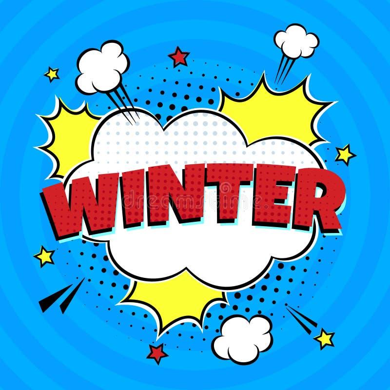 Comic Lettering Winter In Speech Bubbles Stile Comic Flat Design illustrazione vettoriale