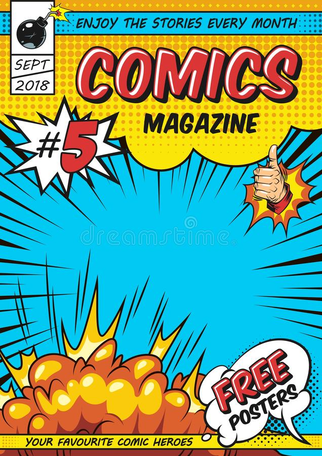 Comic magazine cover template. With rays explosive and halftone humor effects vector illustration stock illustration