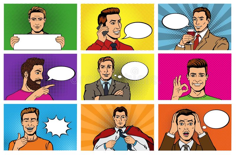 Comic man vector popart cartoon businessman character speaking bubble speech or comicguy expression illustration male royalty free illustration