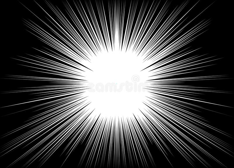 Comic and manga books speed lines background. explosion background. Black and white illustration. / abstract royalty free illustration